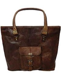 Madosh Women's Genuine Leather Tote Handmade Evening Bag Casual Purse Shopping Laptop Handbag