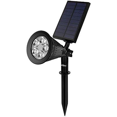 Kealive Lámpara Solar, Spotlight LED Exterior, 5 LED Bulbs, 2W, Resistente al Agua, 2 Modos de Funcionamiento, Adecuado para Patio, Jardín, Villa, Parque(LT-KL1)