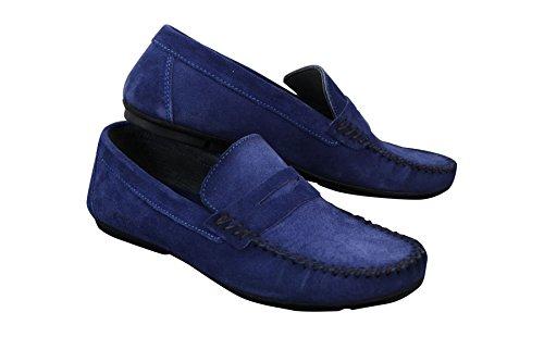 Mocassins homme daim véritable sans lacets style chic et décontracté Bleu