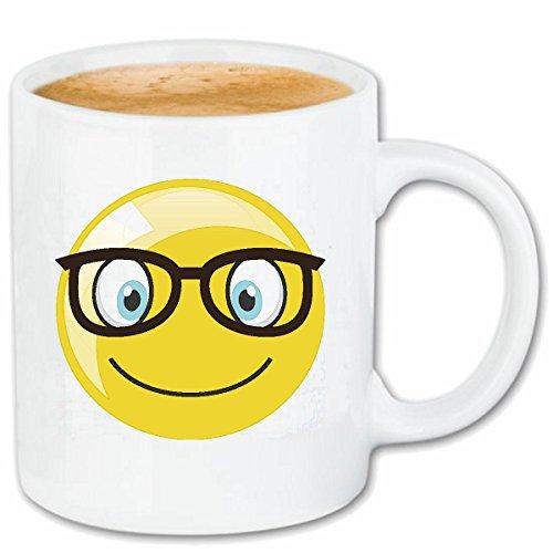 Reifen-Markt Kaffeetasse Geek Smiley Nerd Smiley MIT GROSSER Brille Smileys Smilies Android iPhone Emoticons IOS GRINSE Gesicht Emoticon APP Keramik 330 ml in Wei