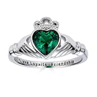 "Sterling Zilver Ring 925""Love Loyalty Friendship"" Gegraveerd Claddagh Cubic Zirconia Smaragd"