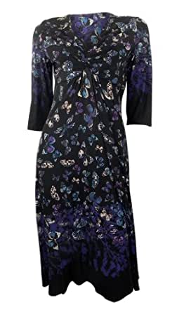 Marks & Spencer butterfly print black stretchy dress 3/4 length sleeves size 14