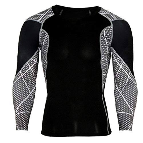 MOIKA Hommes Entraînement Leggings Fitness Sport Gym Running Yoga Chemise Blouse Top Maillot Compression Under Armour(Black,L)