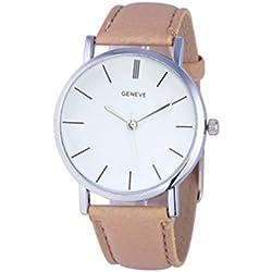 Zolimx Armbanduhr Damen Retro Leder Band Analoge Quarz Uhren (Beige)