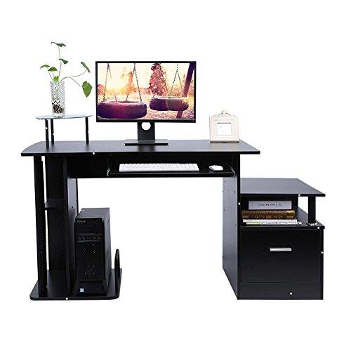 Gototop computer desk scrivania ufficio porta pc tavolo,con ripiani tastiera ripiano scorrevole tavoli riunioni (nero granito)