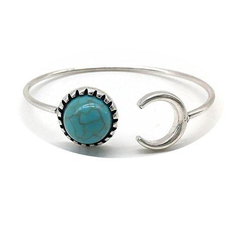 Sunnywill Böhmische Silberlegierung Mond Form Türkis ethnischen Boho Zigeuner Manschette Armbänder für Mädchen Frauen (Zubehör Zigeuner)
