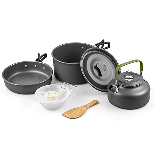 Camping Cookware Kit, Nonstick & Lightweight Pots & Pans with Mesh Set Bag for Backpacking, Hiking, Picnic 10-Piece Set