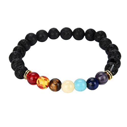 VJGOAL Damen Armband, 7 Chakra Healing Perlen Armband Natürliche Lava Stein Diffusor Armband Schmuck Frau Valentinstag Geschenk (Länge: 7.8 in)
