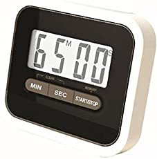 Gadget Hero's Compact Lab & Kitchen Timer With Alarm, Large Digital LCD Display. With Table Stand & Fridge Magnet Black