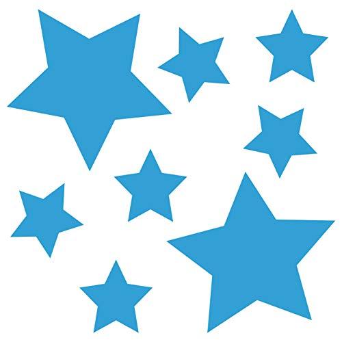 kleb-Drauf® | 8 Sterne | Hellblau - matt | Wandtattoo Wandaufkleber Wandsticker Aufkleber Sticker | Wohnzimmer Schlafzimmer Kinderzimmer Küche Bad | Deko Wände Glas Fenster Tür Fliese