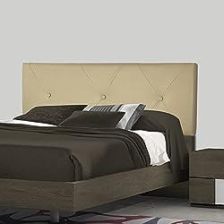 SERMAHOME- Cabecero Toledo tapizado Polipiel Color Beige. Medidas: 160 x 55 x 7 cm (Camas 135, 150 y 160 cm).
