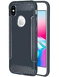 Flymaff - Funda para iPhone X (Incluye Protector de Pantalla de Cristal, absorción de Golpes, Poliuretano termoplástico y Poliuretano termoplástico)