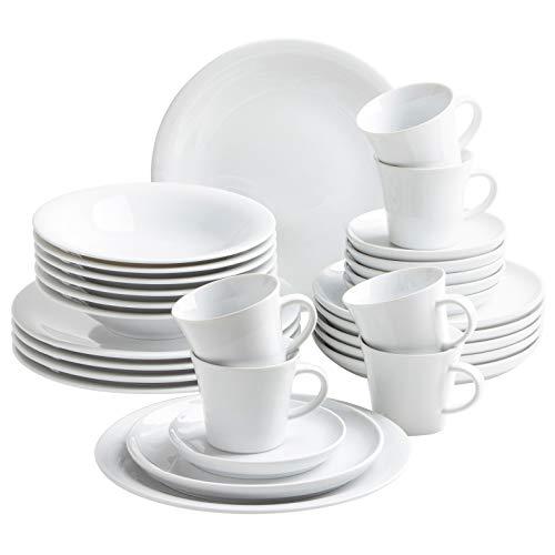 Kahla 320954M90032C Update Komplettset 30-teilig Geschirrset für 6 Personen Porzellanservice rund modern weiß Tafelservice Tassen Teller Suppenteller Dessertteller