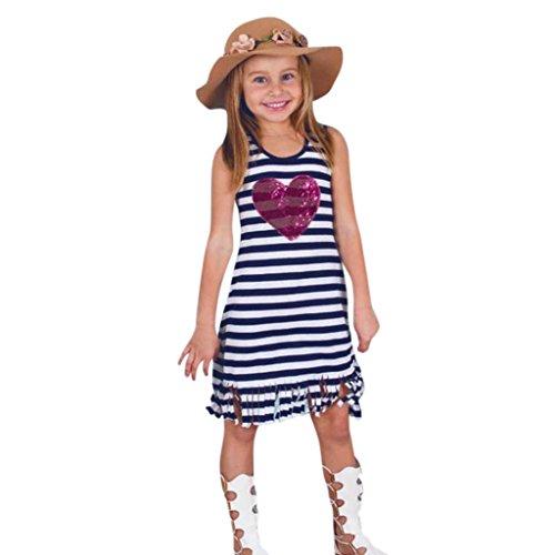 Longra Mädchen Sommerkleider Herz Pailletten Kleider Kinder Ärmellos Gestreift Kleider mit Quaste Schöne Kleider T-shirt Kleid (Navy, 130CM 6Jahre) (Gestreift Bekommen Mädchen)