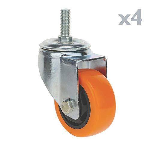 41R4EwqInYL - PrimeMatik - Rueda pivotante Industrial de Poliuretano sin Freno 75 mm M12 4-Pack