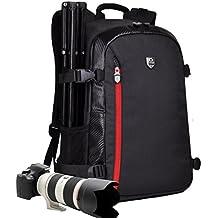YuHan Mochila para cámara de fotos y accesorios de gran capacidad, impermeable, protección contra impactos, interior acolchado y funda impermeable adicional, compatible con Canon, Nikon, Sony, Nikon, Olympus, Samsung