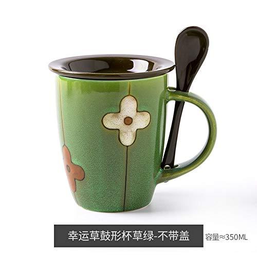 MAKEYA Fleur De Personnalité Fleur Lucky Grass Tasse en Céramique avec Couvercle avec Cuillère Tasse Tasse À Café Vert