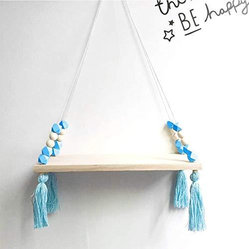 czos88 Regal Dekor Quaste Swing Wand Seil Holz Kinderzimmer Regale (Pink) - Blau, Free Size - Swing Vase