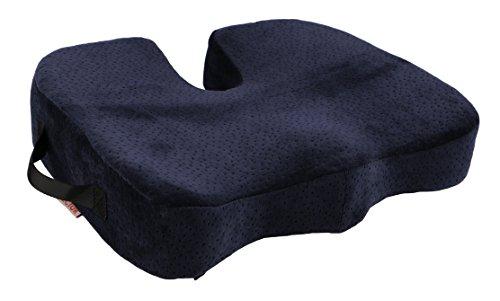 Vector 100% Premium en mousse à mémoire Coussin de chaise, motif orthopédique pour sciatique relief, bas du dos, coccyx, du coccyx, douleur à la hanche et soutien lombaire. Confort Coussin de siège pour chaise de bureau, siège auto, Voyage, Fauteuil roulant, chaise de salle à manger. Meilleur Cadeau pour votre Santé., bleu, LARGE 45x40 cm