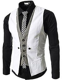 6cd1de65a4ef LANMWORN Hommes Gilet Costume Business Veste,sans Manches Slim Fit Leichte  Mariage Formal Vest S