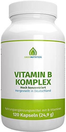 Green Nutrition - Vitamin B Komplex - Vitamin B1, B3, B6, B12, B9 (Folsäure) - Vegan - Vegetarisch - Laktosefrei - Glutenfrei - Aspartamfrei - Genfrei - 120 Kapseln - 1er Pack (Wachstum Pillen Für Frauen)