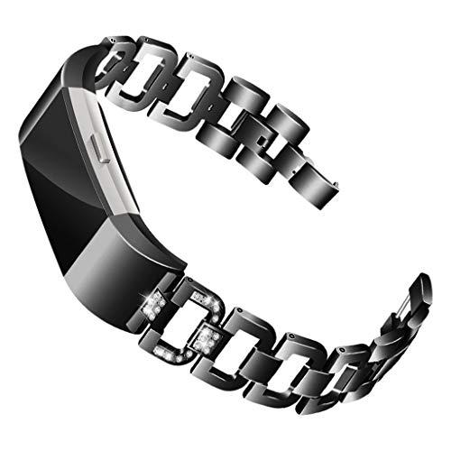 Waotier für Fitbit Charge2 Armband Damen Edelstahl Armband Diamant Strasssteine Armband Verstellbare Ersatzarmband Damen Uhrenarmband Armband für Fitbit Charge 2 Armband Schnellverschluss (Schwarz)