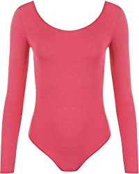 WearAll - Damen Body elastisch Langarm Bodysuit Top - Cerise - 36-38