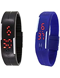 Zeit Multicolour Silicon Digital Watch - Pack of 2
