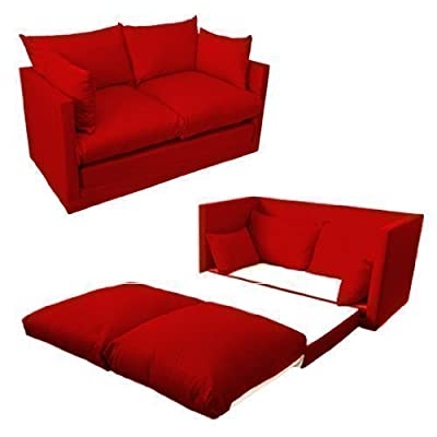 Ready Steady Bed Comfortable Children's Kids Drill 2-Seater Sofa Bed, Red