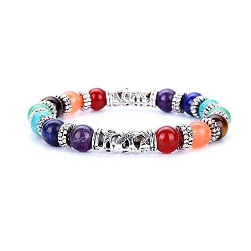 MAINBEAD 7 Chakra Healing Bracelet with Real Stones, Volcanic Lava, Mala Meditation Bracelet (7 charka)