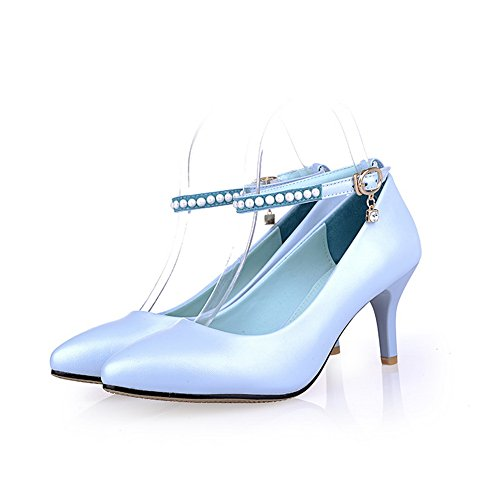 balamasa Femme pointed-toe Baskets Dessus en caoutchouc boucle kitten-heels pumps-shoes Bleu