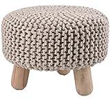 Moycor 763031.0 - Taburete crochet bajo, color natural, 40x40x32 cm