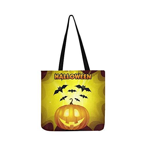 Vektor Halloween Kürbis Fledermäuse Gelb Hintergrund Leinwand Tote Handtasche Schultertasche Crossbody Taschen Geldbörsen Für Männer Und Frauen Einkaufstasche