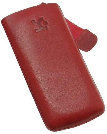 Original Suncase® Tasche für / Samsung Wave S8500 / Leder Etui Handytasche Ledertasche Schutzhülle Case Hülle (mit Zieh-Lasche) in rot