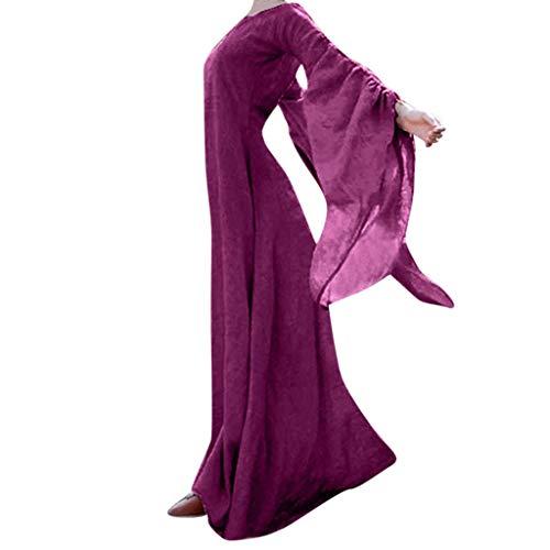 Kostüm Ballett Fee Lila - Mittelalterliches Kleid Damen Partykleid Freizeitkleid Trompetenärmel Langarm Renaissance Mittelalter Abendkleid Bodenlangen Cocktailkleid Maxikleid Halloween Weihnachten Karneval Cosplay Kostüm
