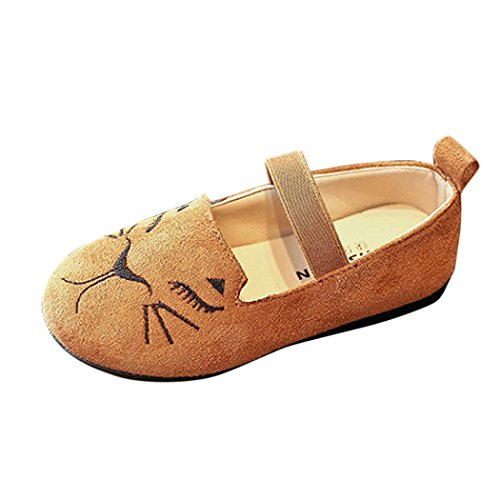 Mode Prinzessin Schuhe Kleinkind Kinder, DoraMe Baby Jungen Mädchen Katze Kopf Einzelne Schuhe Nubukleder Tanzschuhe für 3.5-6.5 Jahr (5-5.5 Jahr/Size(CN):29, Braun)