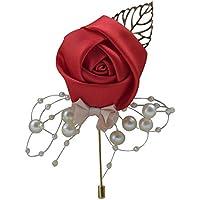 SCRG - Broche de seda para boda, diseño de rosas de satén, para solapa, decoración de traje de graduación rosso