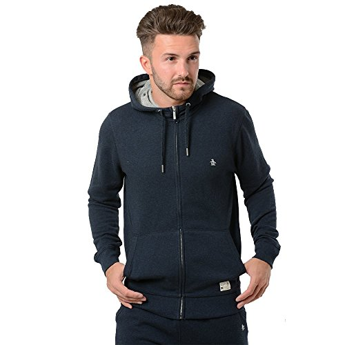 original-penguin-homme-marl-loopback-logo-zip-hoodie-bleu-medium