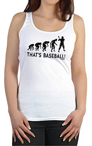 Goodman Design ® Damen Trägershirt Baseball - lustige Sport Sprüche Tanktop : Evolution - That s Baseball! - Baseball Sportshirt Frauen Gr: XL