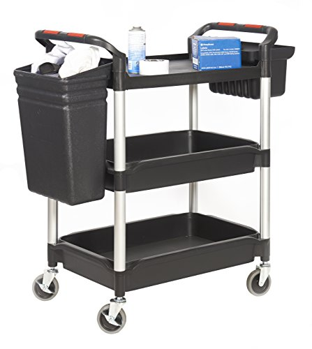 GPC hit32y Workshop Catering Trolley mit Eimer, proplaz Plus, 3 Regal Utility, 150 kg Kapazität (Eimer Regal)