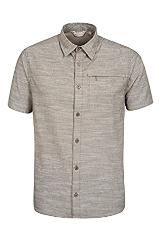 Mountain Warehouse Coconut Textured Mens Short Sleeved Shirt - Lightweight, Breathable and Casual, Ideal for Summer, Everyday and Holiday Wear - Zipped Pocket - 100% Cotton Khaki Medium