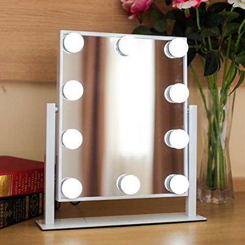 Luci da Specchio Neloodony,USB Kit Luci per Specchio Stile Hollywood per Trucco,Luci da Specchio Cosmetico Stile Hollywood con Lampadine LED Dimmerabili per Vestirsi,Bagno,Specchio non incluso