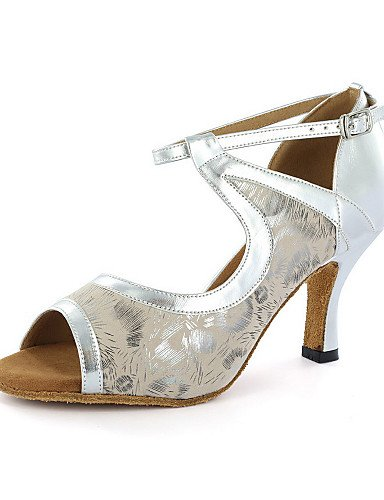 La mode moderne Sandales femmes personnalisables Chaussures de danse en similicuir latine Talon Noir/Bleu/Blanc/Argent Silver