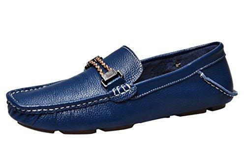 Icegrey Herren Mokassin Casual Leder Fahren Schuhe Halbschuhe Blau