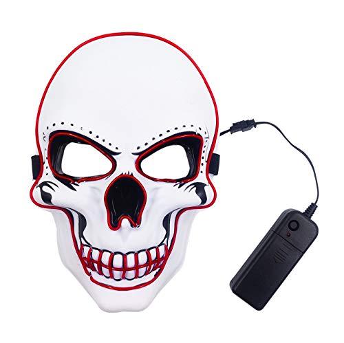 Kostüm Beängstigend - Zounghy Halloween Schädel LED Maske grün leuchten Maske beängstigend Halloween Kostüm Cosplay Ghost Horror White Grimace.