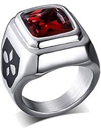 UM Joyería Clásico Mujer Hombres Cristal Acero inoxidable Cuadrado De sello anillos rojo Plata