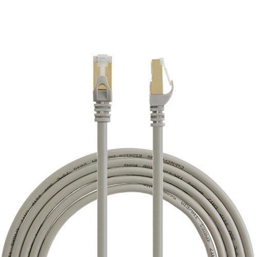 CableCreation Ethernet-Patchkabel, Kategorie 7, doppelt geschirmt, 50U, vergoldet, SSTP-Netzwerkkabel, bis 10Gigabit, Bandbreite 600 MHz, 1m, Beige, Stück (50u Vergoldet)