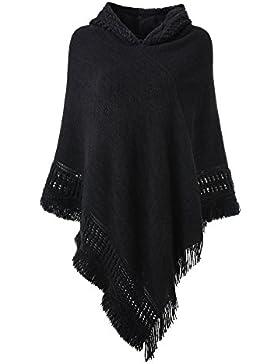 Ferand Damen Kapuzen Poncho mit Häkelborde, Cape für Frauen aus Strickmaterial mit Zierfransen