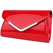 2ae3bb4bb2f9f Schompi Vintage Damen Lack-Tasche Abendtasche Clutch Bag mit abnehmbarer  Schulterkette Kettentasche