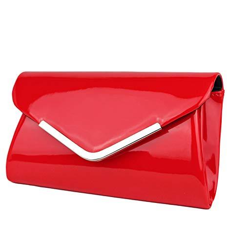Schompi Vintage Damen Lack-Tasche Abendtasche Clutch Bag mit abnehmbarer Schulterkette Kettentasche, Farbe:Rot